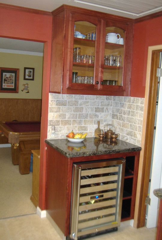 Wine Cooler Beverage Nook Alder with Cherry Finish